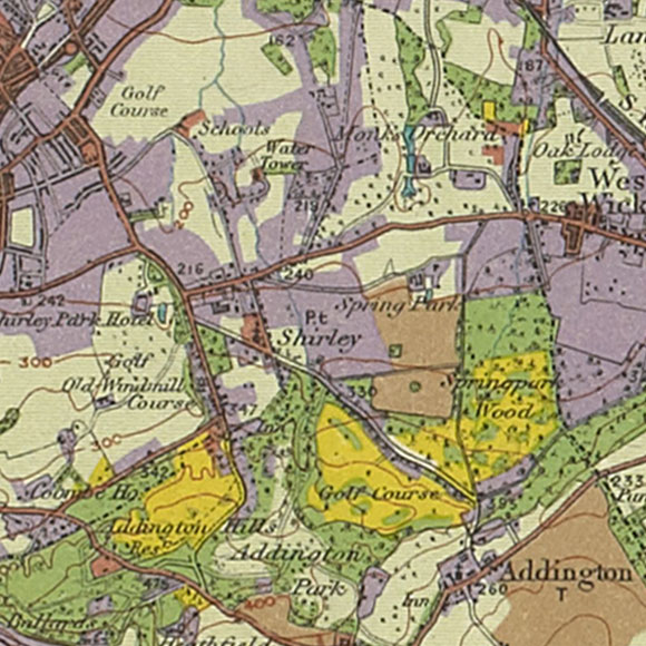 London map 1930s Land Utilisation Survey for Shirley Oaks, West Wickham