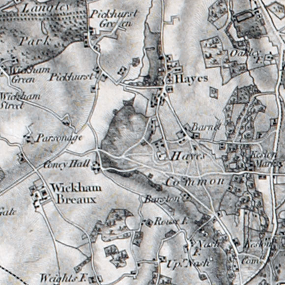 Ordnance Survey First Series map for Hayes, Keston