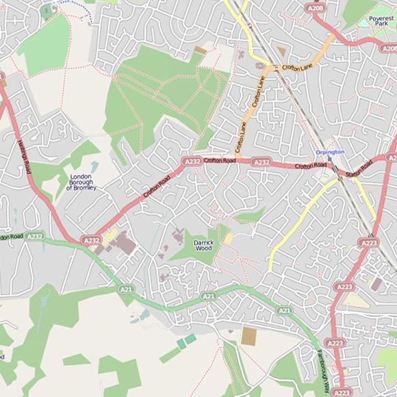 London map OpenStreetMap for Farnborough, Orpington