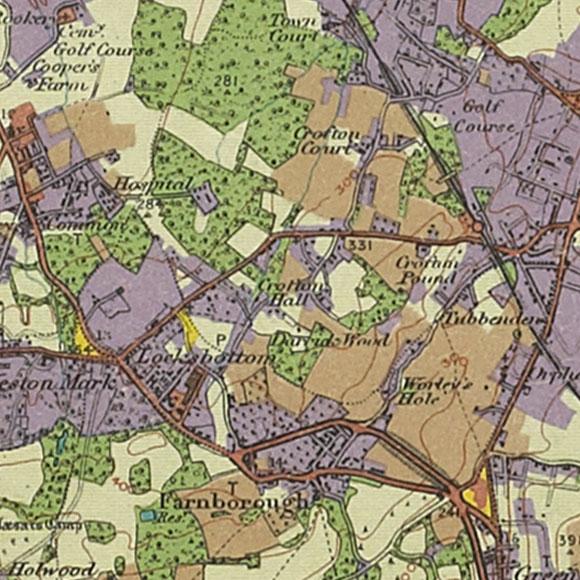 London map 1930s Land Utilisation Survey for Farnborough, Orpington