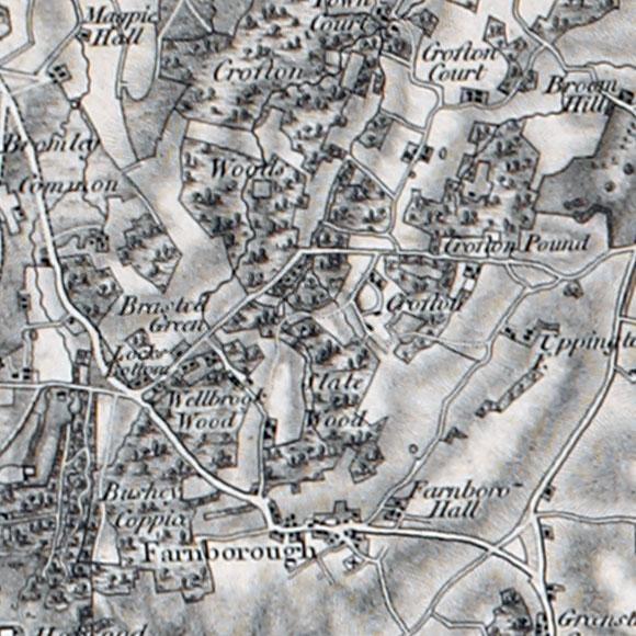Ordnance Survey First Series map for Farnborough, Orpington