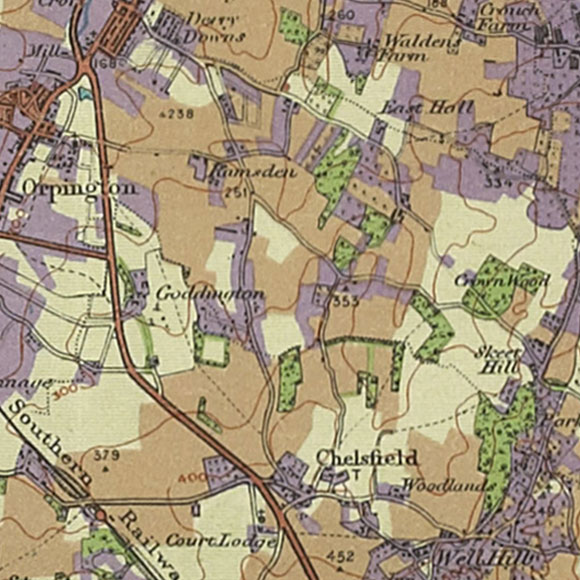 London map 1930s Land Utilisation Survey for Chelsfield, Ramsden