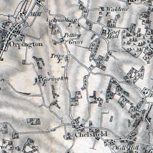 Ordnance Survey First Series map for Chelsfield, Ramsden