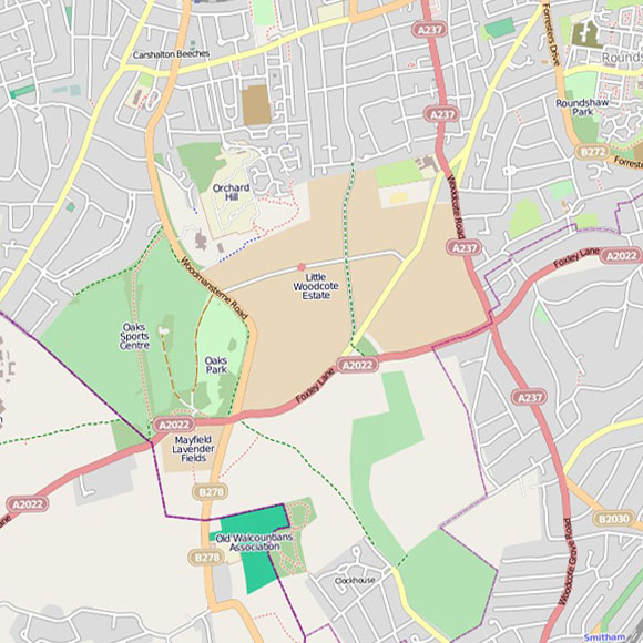 London map OpenStreetMap for Carshalton Beeches, Woodcote