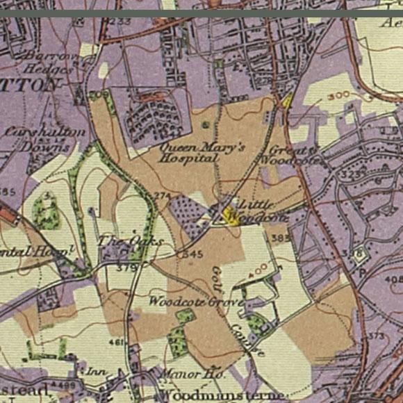 London map 1930s Land Utilisation Survey for Carshalton Beeches, Woodcote