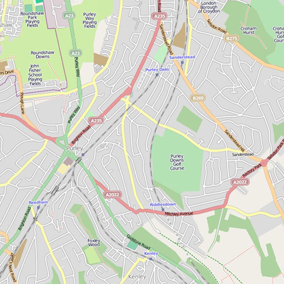 London map OpenStreetMap for Purley, Riddlesdown, Sanderstead