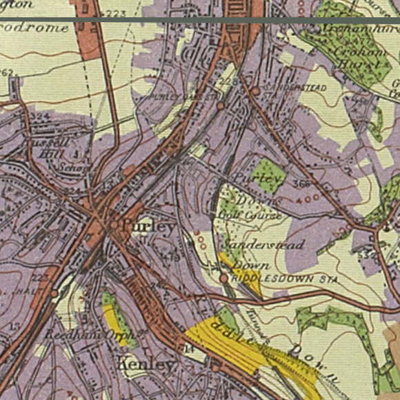 London map 1930s Land Utilisation Survey for Purley, Riddlesdown, Sanderstead