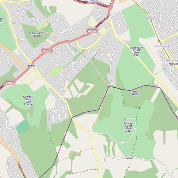 London map OpenStreetMap for Selsdon, Forestdale