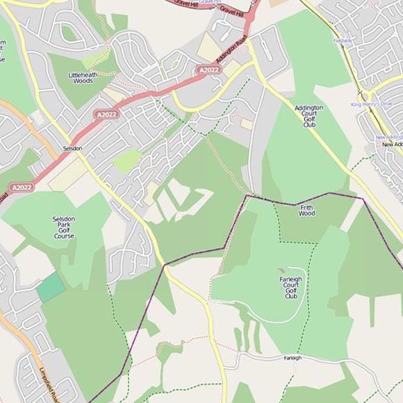 London map OpenStreetMap for Selsdon, Forestdale