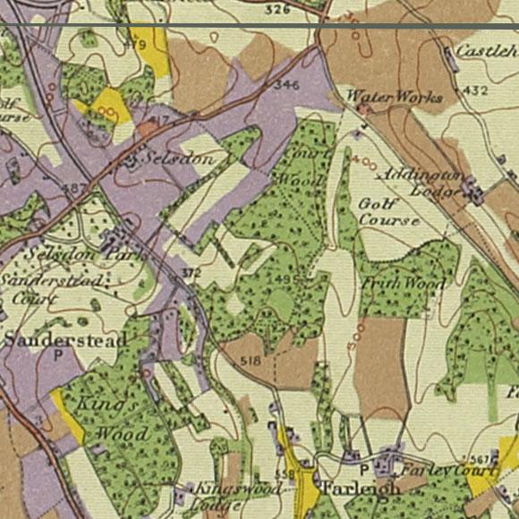 London map 1930s Land Utilisation Survey for Selsdon, Forestdale